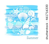 blue vintage summer card with... | Shutterstock .eps vector #461716330