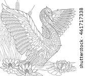stylized beautiful swan among...   Shutterstock .eps vector #461717338