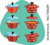 sauce pan with lid and soup.... | Shutterstock .eps vector #461738689