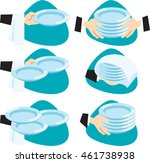 waiter brings few dishes at a... | Shutterstock .eps vector #461738938