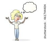cartoon woman raising hands in... | Shutterstock . vector #461744404