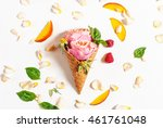 Waffle Cone With Roses  Fruits...