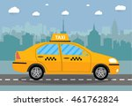 yellow taxi car in front of... | Shutterstock .eps vector #461762824