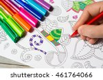 woman coloring the coloring...   Shutterstock . vector #461764066
