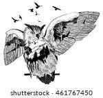 vector double exposure  owl for ... | Shutterstock .eps vector #461767450