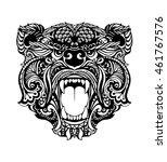 bear head tattoo isolated   Shutterstock .eps vector #461767576