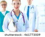 attractive female doctor in... | Shutterstock . vector #461773009