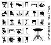 big set of antique furniture... | Shutterstock .eps vector #46177408