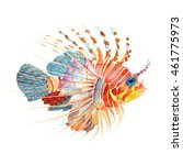 Watercolor Colorful Lion Fish...
