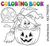 coloring book halloween cat... | Shutterstock .eps vector #461796058