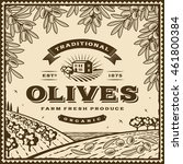 vintage brown olives label.... | Shutterstock .eps vector #461800384