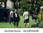 Small photo of Christopher Nolan Filming for the World War II action thriller Dunkirk by Urk Netherlands July 2016 Christopher Nolan