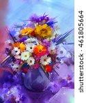 oil painting flowers in vase.... | Shutterstock . vector #461805664