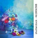 oil painting flowers in vase.... | Shutterstock . vector #461806588