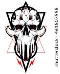 skull vector design satan | Shutterstock .eps vector #461807998