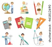kids with giant school... | Shutterstock .eps vector #461812690