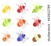 fruits cut bursting with juice | Shutterstock .eps vector #461812789