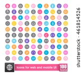 set of 100 icon with background ...