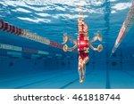 woman wearing red swimsuit...   Shutterstock . vector #461818744