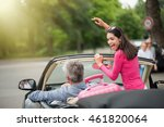 a cheerful couple going on a... | Shutterstock . vector #461820064