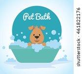 cute dog bathing   Shutterstock .eps vector #461822176