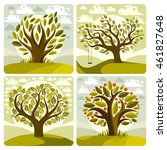 vector art green trees with... | Shutterstock .eps vector #461827648