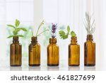 Brown Bottles Of Essential Oil...