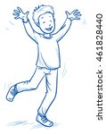 cute little boy jumping with... | Shutterstock .eps vector #461828440