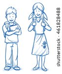 cute little boy and girl with... | Shutterstock .eps vector #461828488