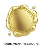 blank golden wax seal isolated... | Shutterstock . vector #461829073
