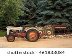 Old Tractor And Farm Equipment.