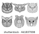 owl heads set. black white hand ... | Shutterstock .eps vector #461837008