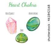 heart chakra stones set. close...   Shutterstock . vector #461842168