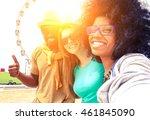 afro hair girl taking selfie...   Shutterstock . vector #461845090