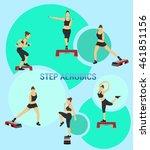 fitness vector set. silhouette... | Shutterstock .eps vector #461851156