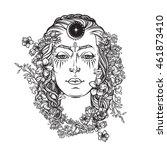 white goddess bw sketch   Shutterstock .eps vector #461873410