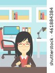 an asian young woman making a...   Shutterstock .eps vector #461884384