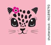 Stock vector cute cat face t shirt design for kids vector illustration 461898793