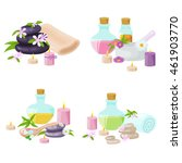 spa towel and aroma oil spa... | Shutterstock .eps vector #461903770