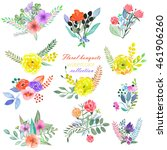 set of bouquets with flowers ... | Shutterstock . vector #461906260