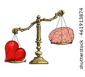 heart and brain on scales.... | Shutterstock .eps vector #461913874