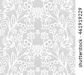 White lace seamless pattern with flowers on grey background