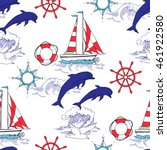 nautical seamless pattern with... | Shutterstock .eps vector #461922580