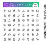 set of 56 halloween line icons... | Shutterstock .eps vector #461922988