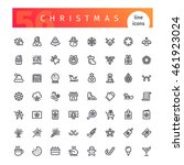 set of 56 christmas line icons... | Shutterstock .eps vector #461923024