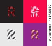 """line art logo set. letter """"r""""...   Shutterstock .eps vector #461930590"""