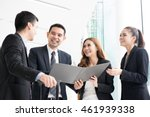 happy business people... | Shutterstock . vector #461939338