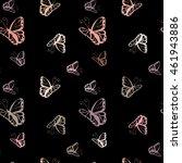 butterfly  monochrome seamless... | Shutterstock . vector #461943886