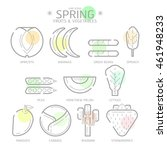 line icons spring fruits and... | Shutterstock .eps vector #461948233