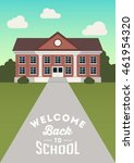 welcome back to school. retro... | Shutterstock .eps vector #461954320